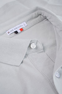 front placket grey polo