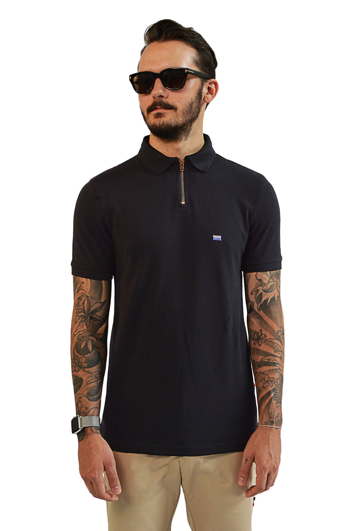 front view zip up black polo