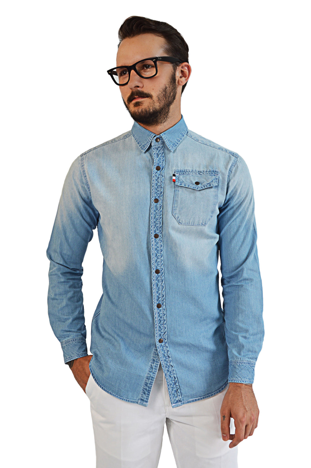 Front view light faded chambray shirt