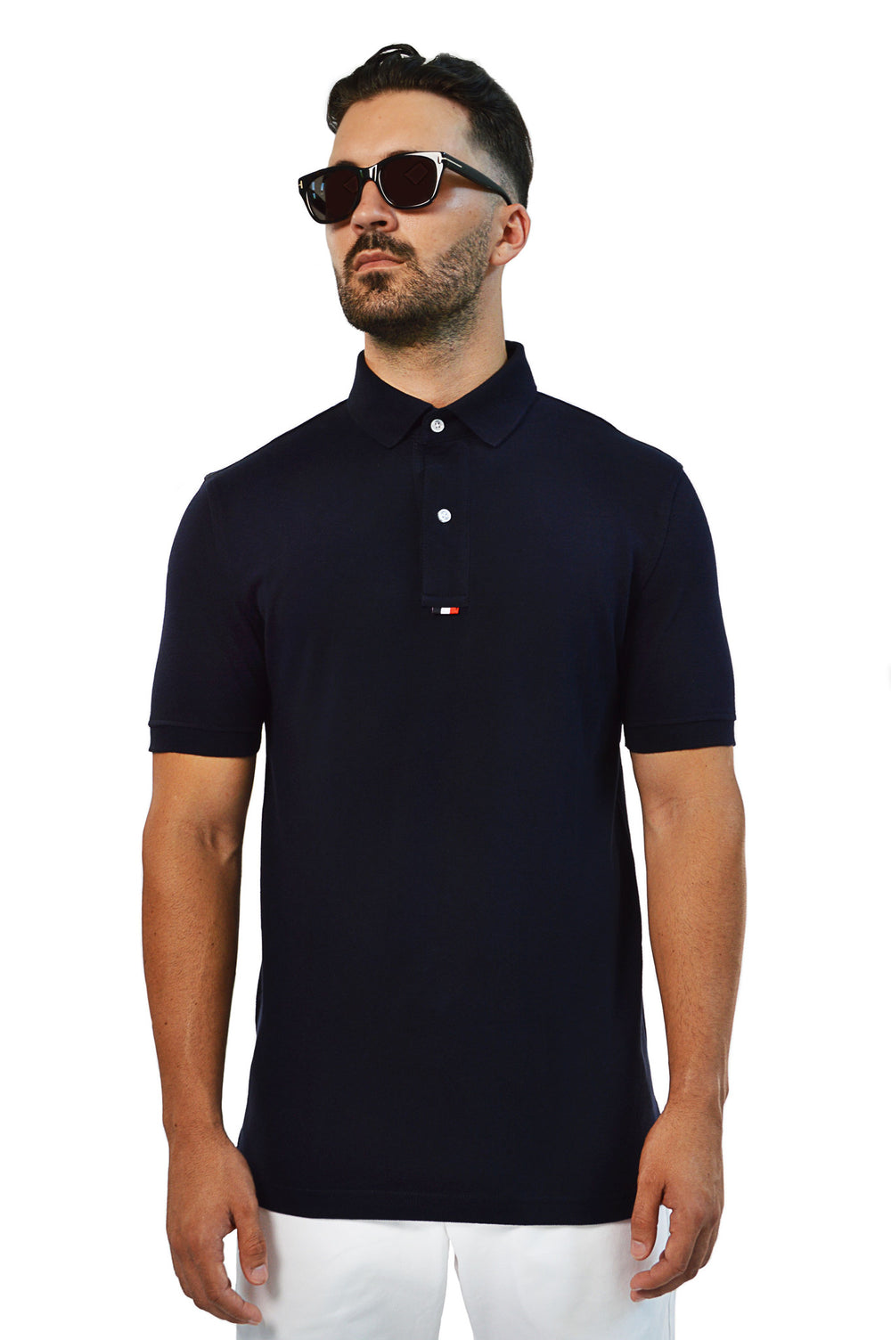 Close up french navy tailored polo