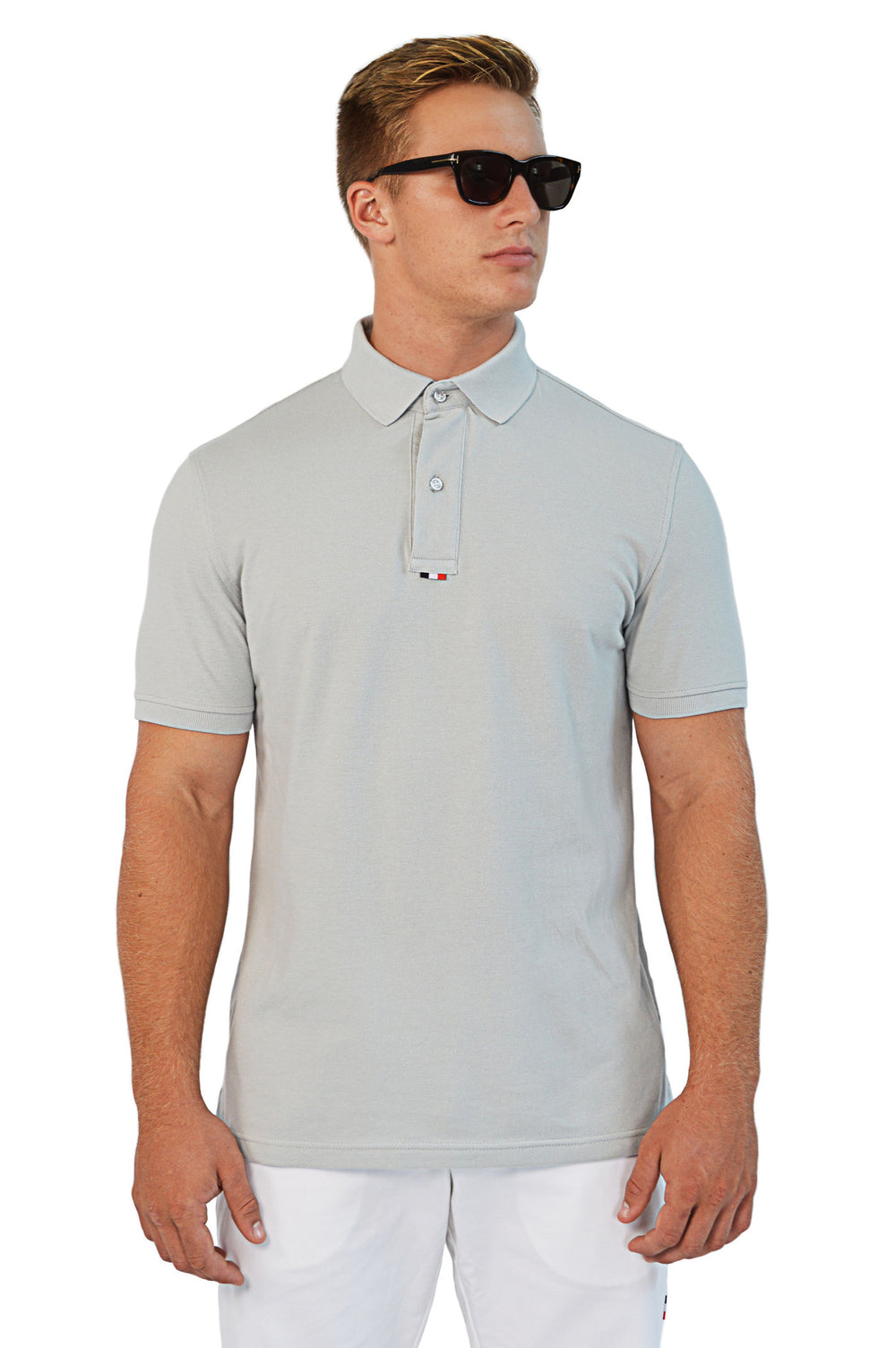 front view grey tailored polo