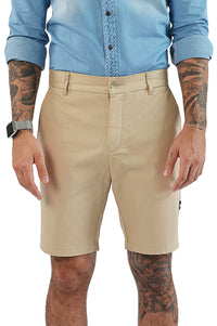 Front view light camel tailored short