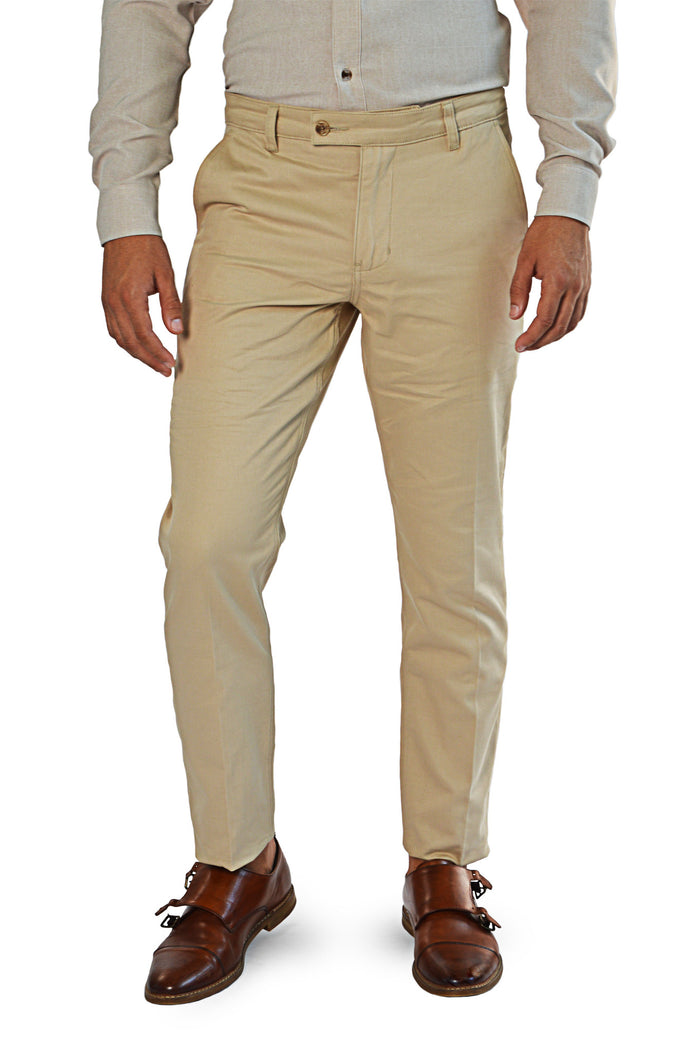 Front view light camel slim fit chinos