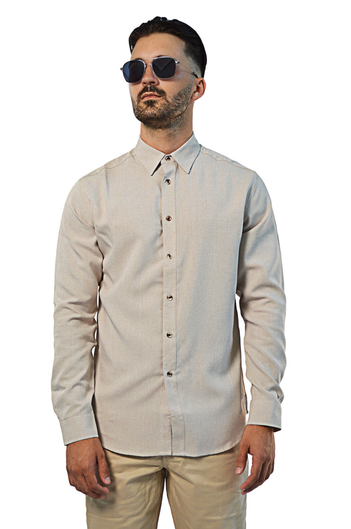 front view non-iron linen shirt