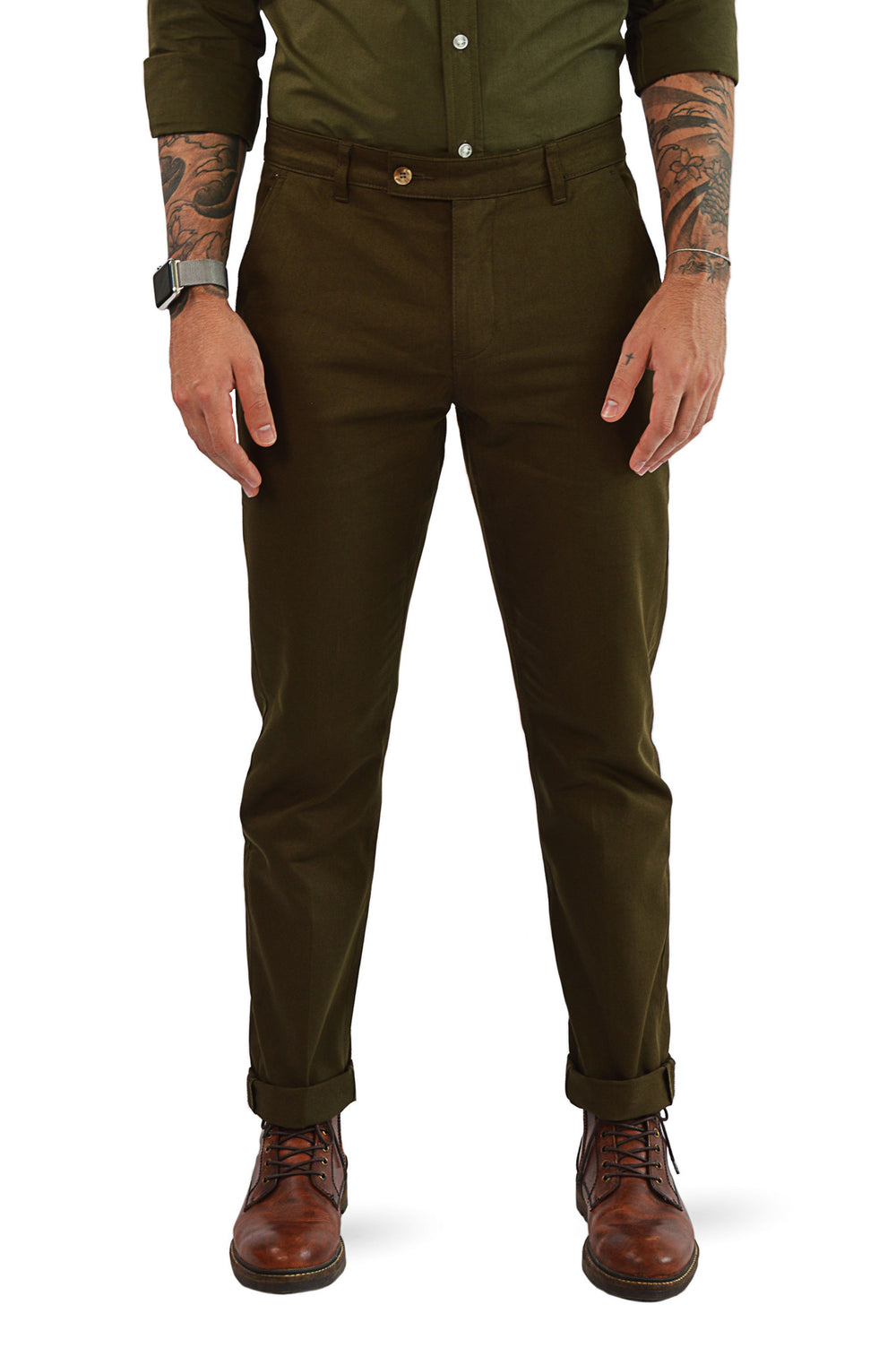 Front view military slim fit chino
