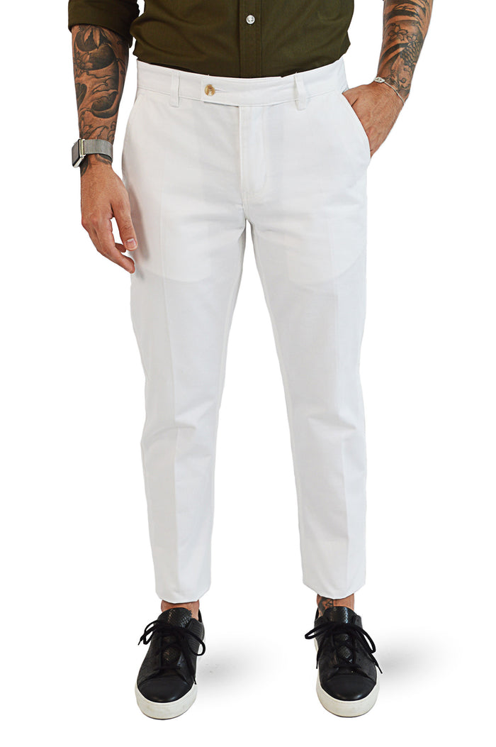 front view white tailored chinos