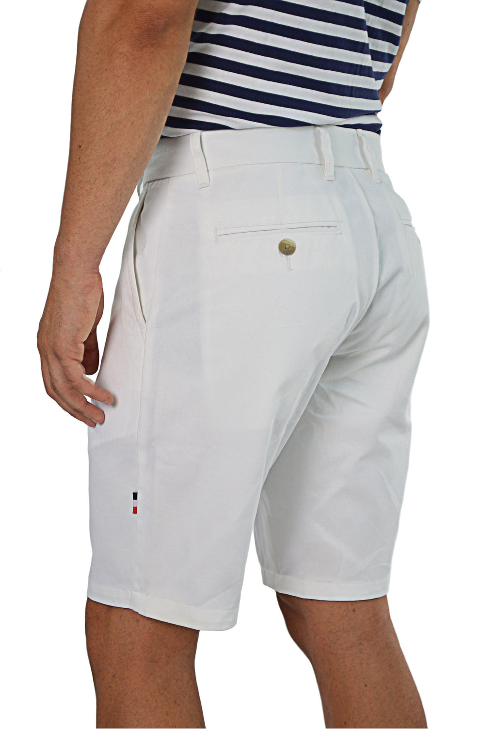 side view white tailored shorts