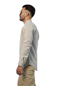 side view non-iron linen shirt