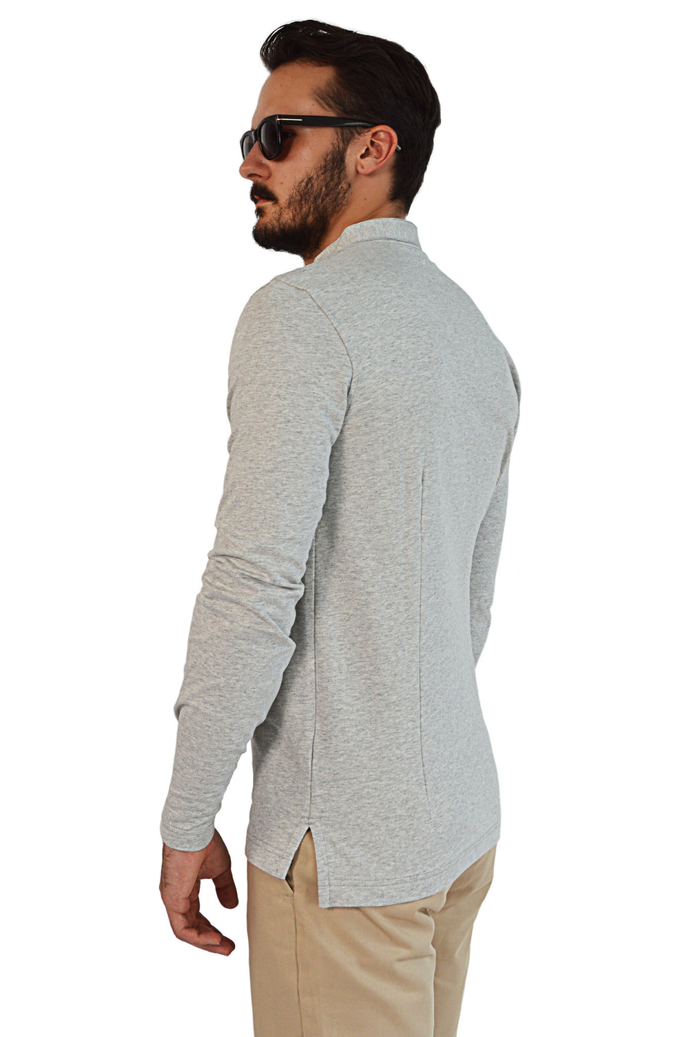 Side view french terry tailored henley
