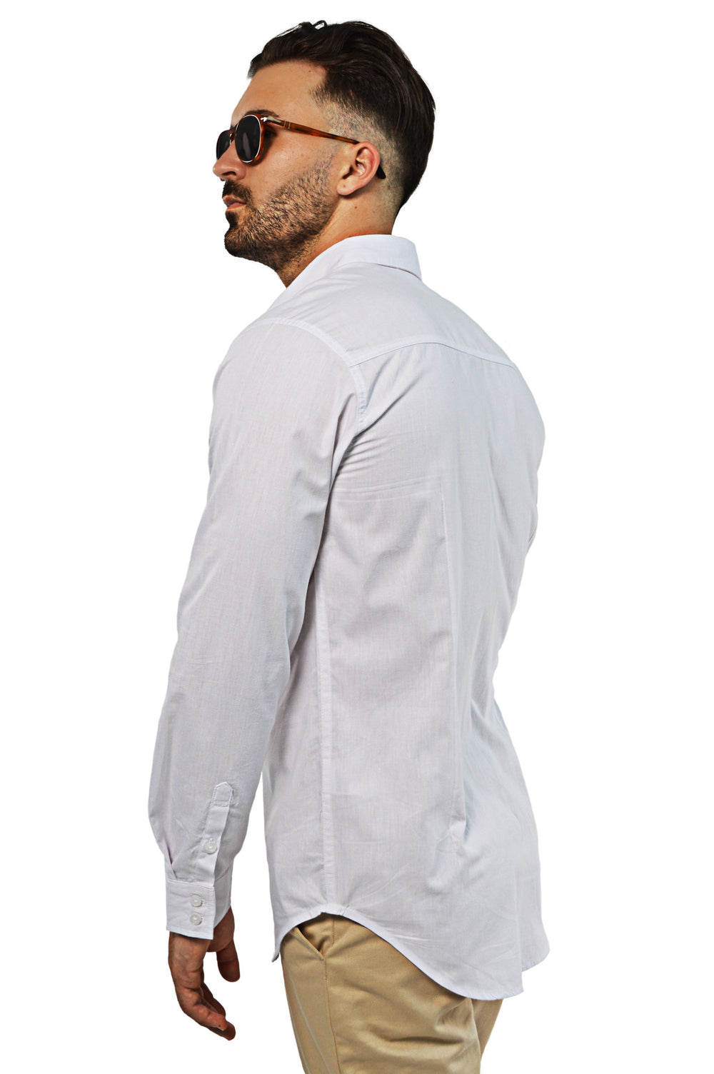 side view tailored white shirt