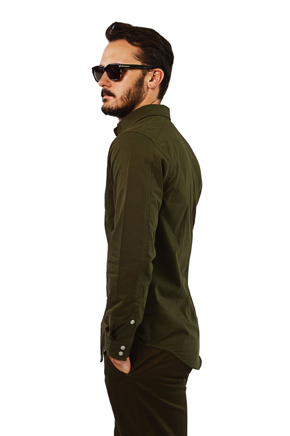 Side view military tailored shirt
