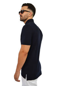 Side view french navy tailored polo