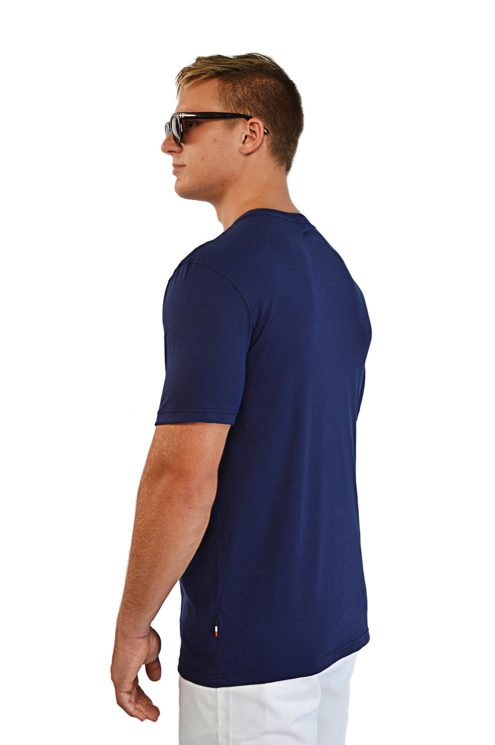 side view navy t-shirt