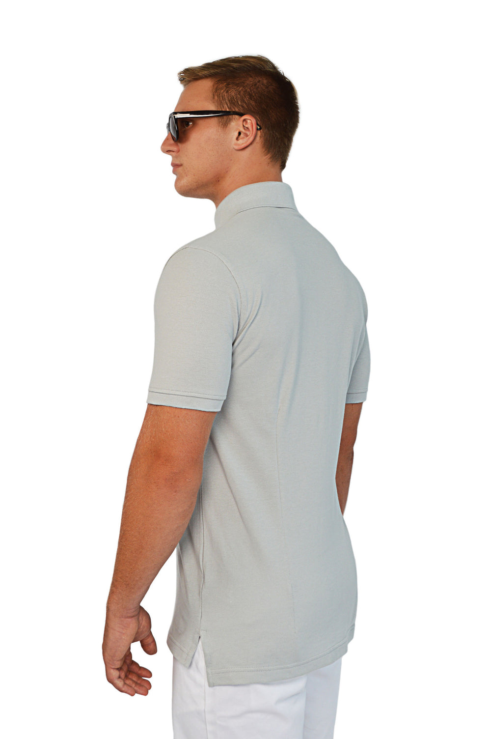side view grey tailored polo