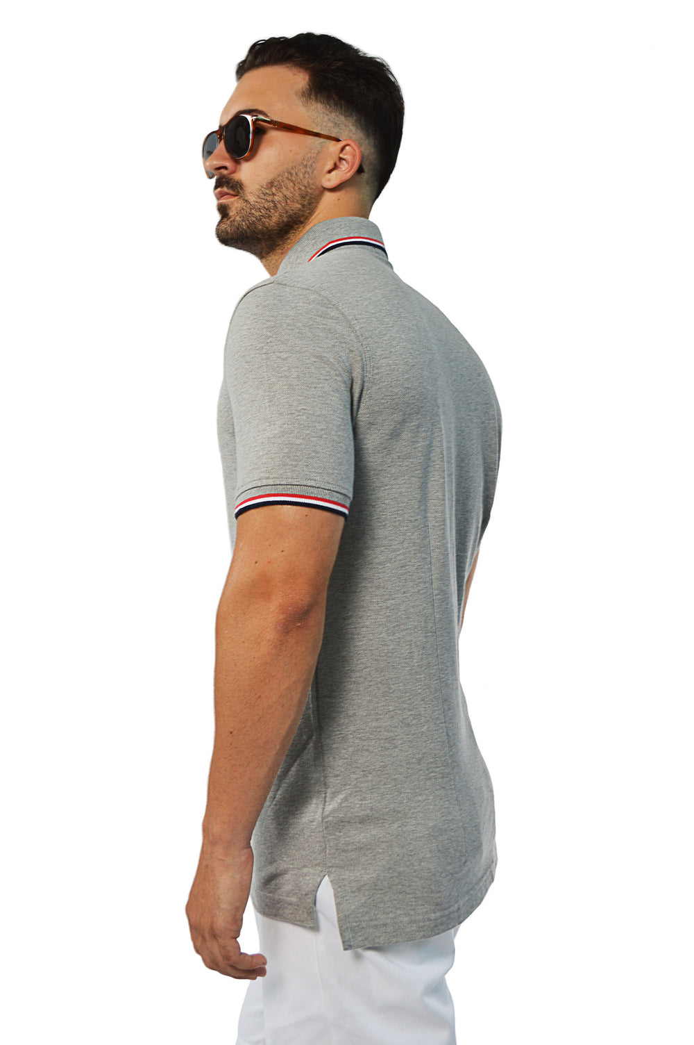 Side view french tip tailored polo