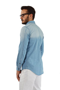 Side view light faded chambray shirt