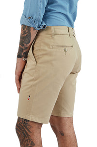 Side view light camel tailored short