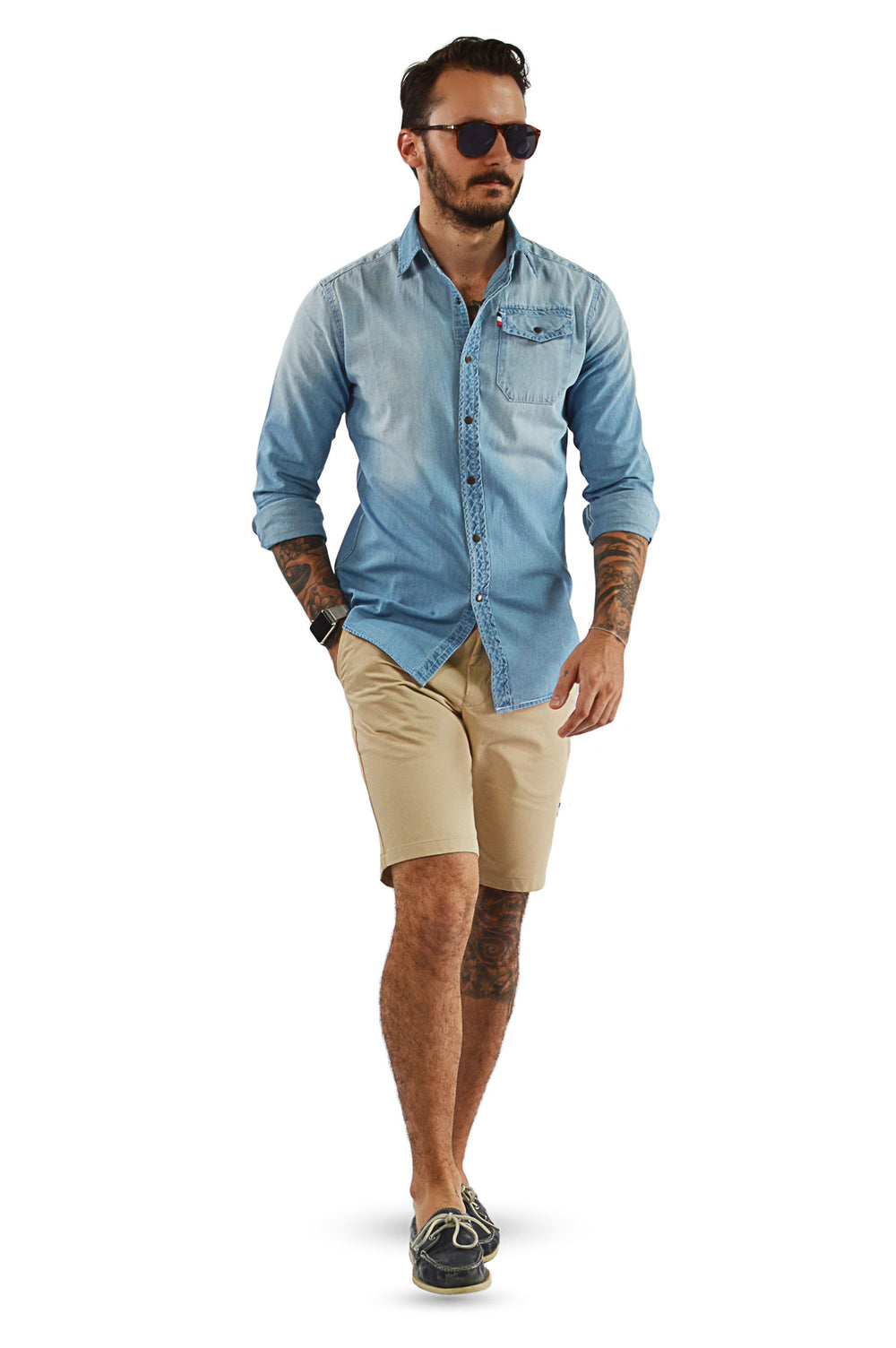 Light camel tailored shorts with chambray tailored shirt