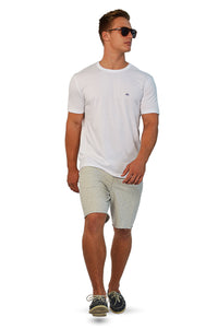 French terry gym shorts with white plain T-Shirt