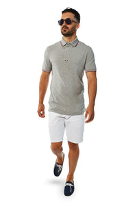French tip tailored polo with white tailored shorts