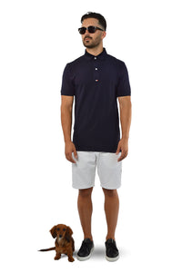 French navy tailored polo with sausage dog