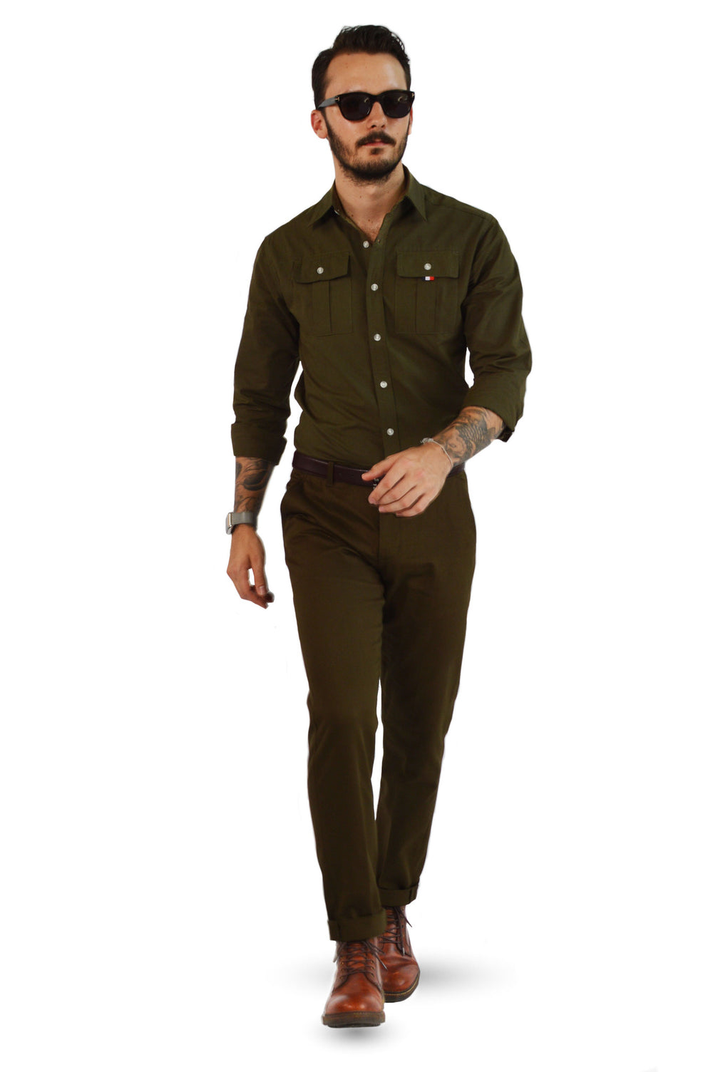 Military slim fit chinos with military tailored shirt