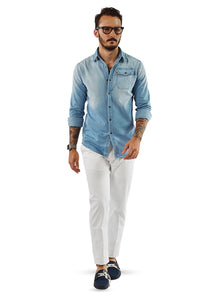 White tailored chinos with light chambray tailored shirt