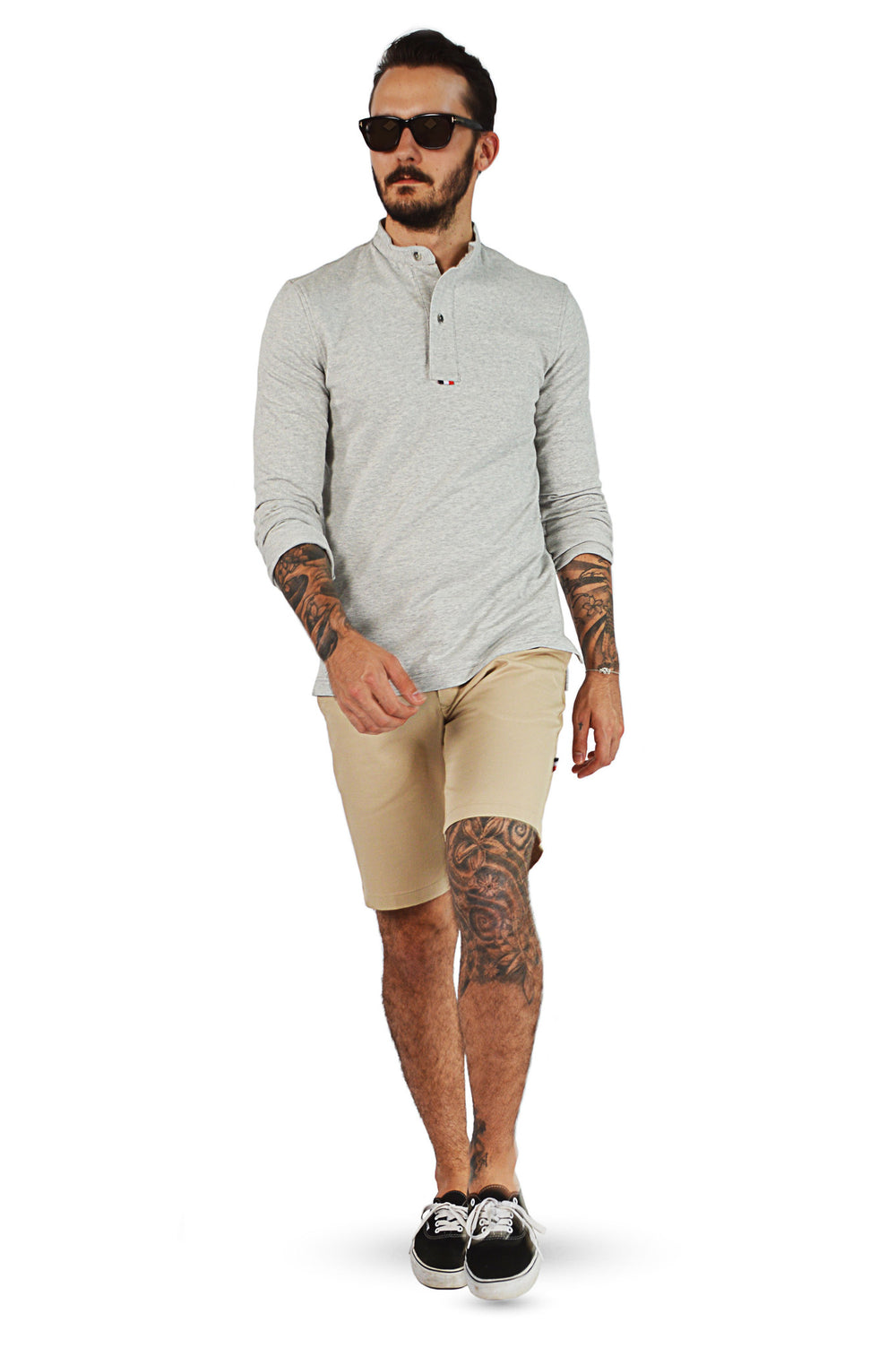 French terry tailored henley shirt with camel tailored shorts