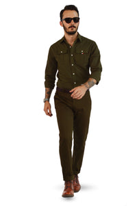 Military tailored shirt with military slim fit chinos