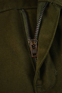 Close up front raw YKK zipper