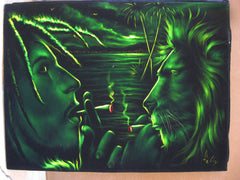 "Bob Marley and Lion  Smoking,  Original Oil Painting on Black Velvet by Enrique Felix , ""Felix"" - #F75"