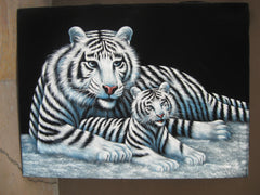 "White Tiger Mother & Cub ; Original Oil Painting on Black Velvet ;  by Jorge Terrones -(size 18""x24"")-px J019"