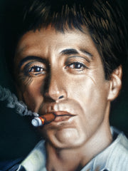 "Tony Montana Portrait , Al Pacino, Scarface Original Oil Painting on Black Velvet by Alfredo Rodriguez ""ARGO"" - #A156"