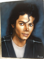 "Michael Jackson Portrait, Original Oil Painting on Black Velvet by Alfredo Rodriguez ""ARGO"" - #A155"