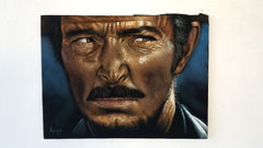 "Lee Van Cleef ""Bad"" portrait,  Man with No Name, Spaghetti Western, Original oil painting on black velvet by Argo size (24""x18"") a394"