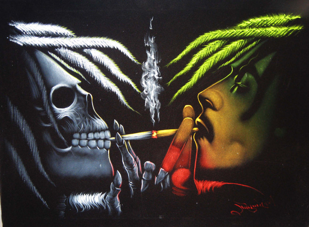 "Bob Marley & Skull portrait; Robert Nesta ""Bob"" Marley; Rasta colors, Original Oil painting on Black Velvet by Zenon Matias Jimenez- #JM10"