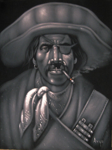 "Bandit, Mexican Bandito, Original Oil Painting on Black Velvet by Alfredo Rodriguez ""ARGO"" - #A28"