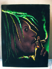 "Bob Marley Smoking,  Original Oil Painting on Black Velvet by Enrique Felix , ""Felix"" - #F79"