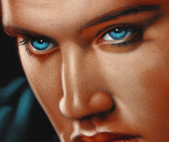 "Elvis Presley Portrait , Original Oil Painting on Black Velvet by Alfredo Rodriguez ""ARGO"" - #A31"