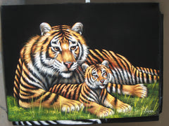 "Tiger Mother & Cub in grass; Original Oil Painting on Black Velvet ;  by Jorge Terrones -(size 18""x24"")-px J024"