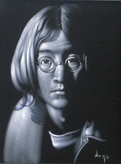 "John Lennon Portrait , Original Oil Painting on Black Velvet by Alfredo Rodriguez ""ARGO"" - #A17"