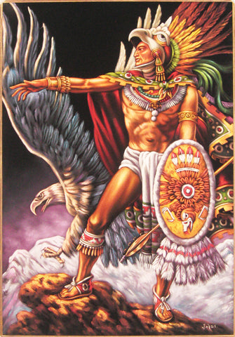 "Aztec Eagle warrior, cuāuhtli ; Original Oil Painting on Black Velvet ;   -(size 24""x36"")-p2 J036"