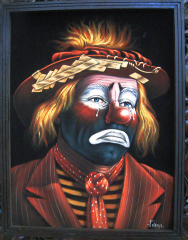 Emmett Kelly Circus Hobo Clown; Original Oil painting on Black Velvet by Jorge Terrones - #J39