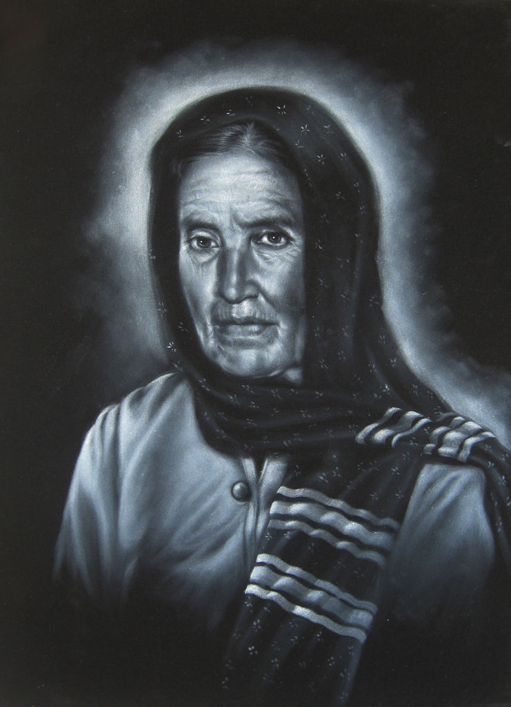 "Maria Sabina Portrait, Curandeiro Shaman Witch doctor ,   Original Oil Painting on Black Velvet by Enrique Felix , ""Felix"" - #F76"