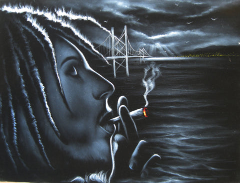 "Bob Marley Smoking,  Original Oil Painting on Black Velvet by Enrique Felix , ""Felix"" - #F74"