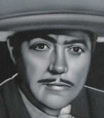 "Luis Aguilar Manzo Portrait,  Original Oil Painting on Black Velvet by Alfredo Rodriguez ""ARGO"" - #A25"