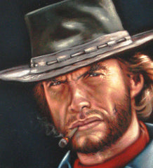 "Clint Eastwood, The Outlaw Josey Wales,  Original Oil Painting on Black Velvet by Alfredo Rodriguez ""ARGO""  - #A15"