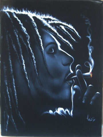 "Bob Marley Smoking,  Original Oil Painting on Black Velvet by Enrique Felix , ""Felix"" - #F85"
