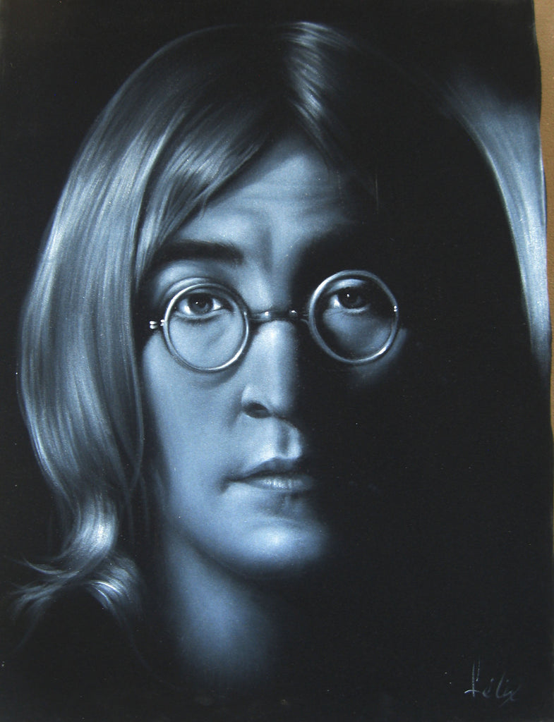 "John Lennon,  Beatles, Original Oil Painting on Black Velvet by Enrique Felix , ""Felix"" - #F77"