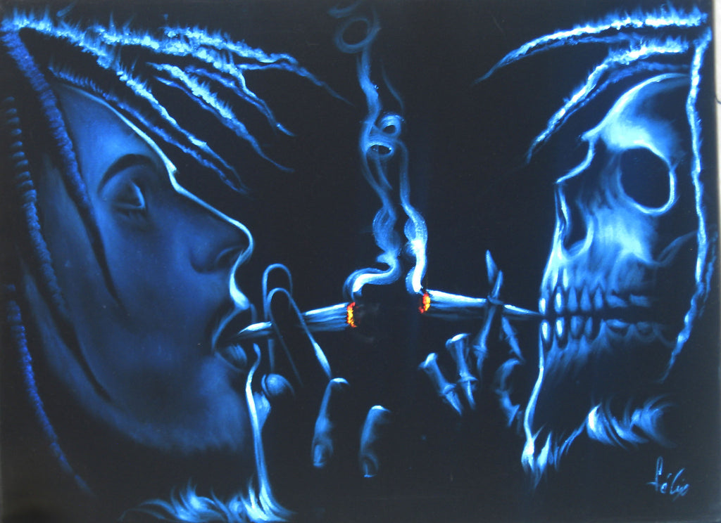 "Bob Marley and Skull Smoking,  Original Oil Painting on Black Velvet by Enrique Felix , ""Felix"" - #F86"